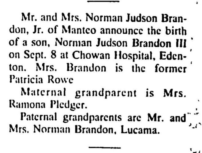 1990 Coastland Times Brandon's Birth Announcement