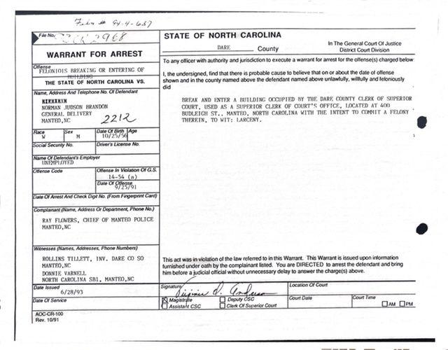 Arrest Warrant Page 1