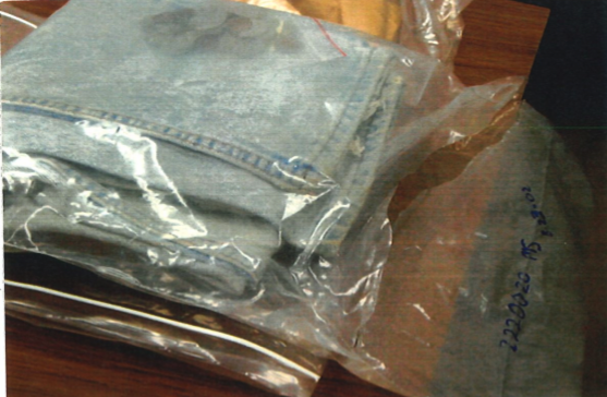 jeans in a sealed bag