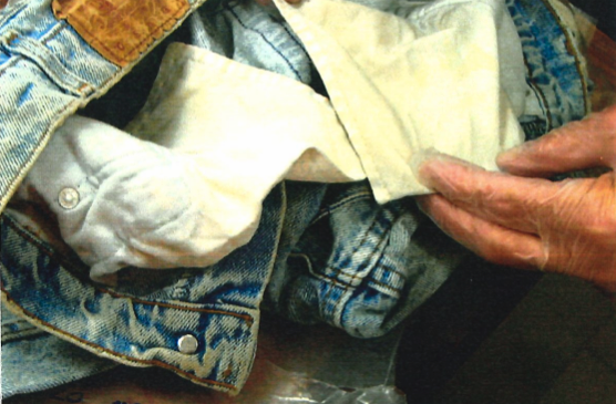 close up of the inside of a pair of jeans