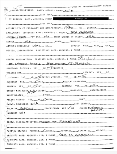 Eric Dawson Missing Person Report page 2