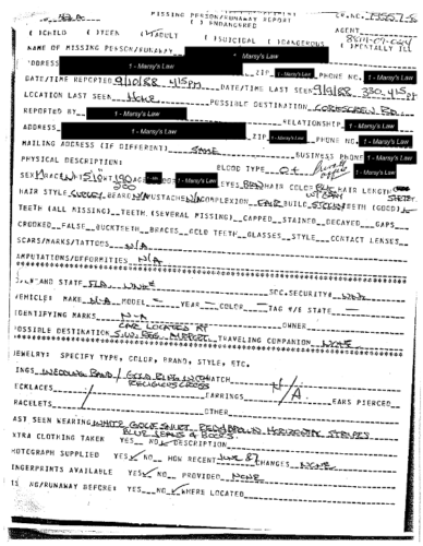 Eric Dawson Missing Person Report page 1