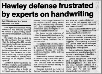 """Hawley Defense Frustrated by Experts on Handwriting"" newspaper clipping"
