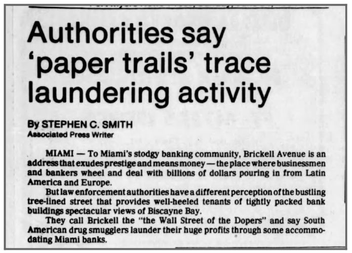 """newspaper clipping """"Authorities Say 'Paper Trails' Trace Laundering Activity"""""""