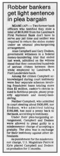 """newspaper clipping """"Robber Bankers Get Light Sentence In Plea Bargain"""""""