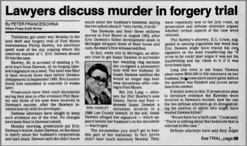 """Lawyers Discuss Murder In Forgery Trial"" newspaper clipping"