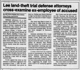 """Lee Land-Theft Trial Defense Attorneys Cross-Examine Ex-Employee of Accused"" newspaper clipping"