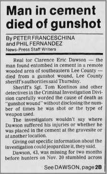 """Man In Cement Died of Gunshot"" newspaper clipping"