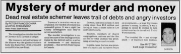 """Mystery of Murder and Money"" newspaper clipping"
