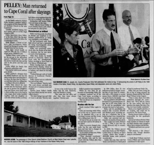 """""""PELLEY: Man Returned to Cape Coral After Slayings"""" newspaper clipping"""