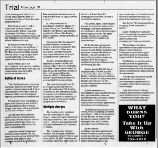 """No Smoking Gun Revealed in Trial"" newspaper clipping part 2"