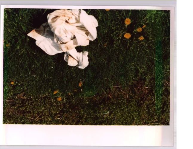 stained shirt on the grass