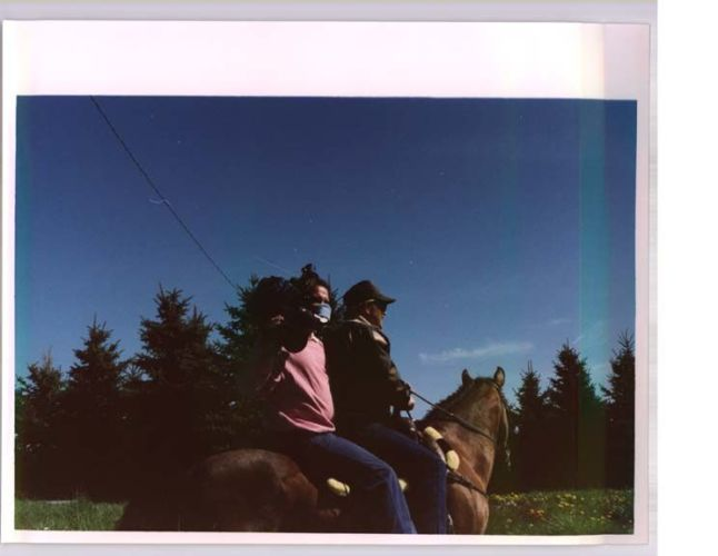 two people on the back of a horse