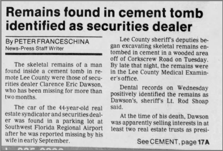 """Remains Found in Cement Tomb Identified As Securities Dealer"" newspaper clipping"