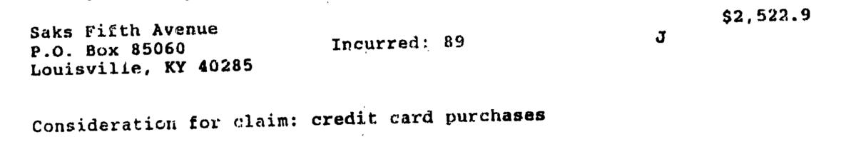 Saks 5th Avenue credit card transaction