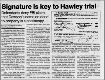 """Signature Is Key to Hawley Trial"" newspaper clipping"