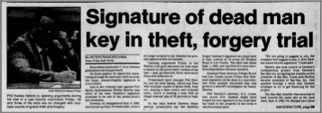 """Signature of Dead Man Key in Theft, Forgery Trial"" newspaper clipping"