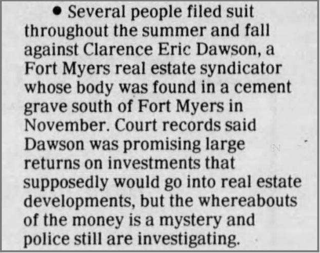 """Scams"" newspaper clipping"